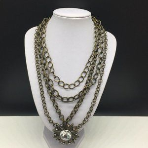 Chico's Multi Strand Chain Rhinestone Necklace